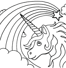 Unicorn Rainbow Coloring Pages Printable Unicorn Rainbow Coloring Pages Kids Cute Pictures For