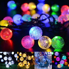 Fairy Lights Price In India 21ft Solar Powered String Lights 30 Crystal Balls Outdoor Home Led Fairy Lights Decorations