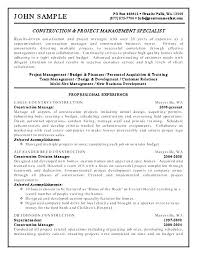 Project Management Resume Samples Resume Template Construction