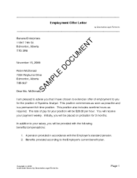 Letter Of Offer Template Employment Offer Letter Canada Legal Templates