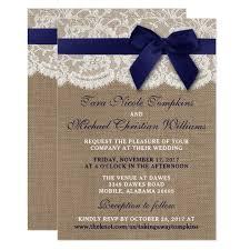 Navy Ribbon On Burlap Lace Wedding Invitation