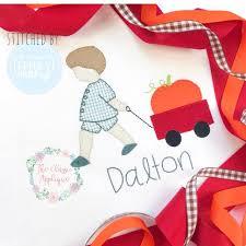 Little Boy Applique Designs Boy Pulling Wagon With Pumpkin Applique