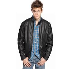 kenneth cole reaction faux leather motorcycle jacket in black for men