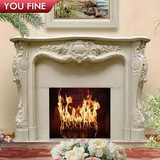hand carved natural stone fireplace mantel for home decoration