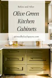 olive green kitchen cabinets painted