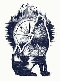 Vektorová Grafika Vlk A Hory Dvojí Expozice Umění Tetování Symbol