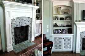 light sky blue and brown glass small tile mosaic fireplace surround with white mantel to pace