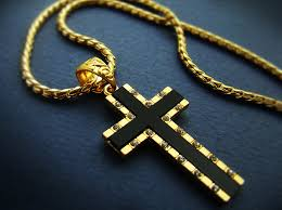 mens cross necklace pendant 18k gold nano injection plated chain onyx hiphop 93