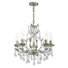 laquila 5 light chandelier antique gold silver crystal droppers