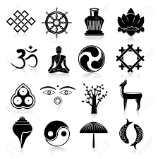 Traditional Symbols Buddhism Yoga Oriental Traditional Symbols Icons Black Set Isolated