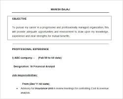Resume Objectives 18 Free Doc Financial Analyst Resume Format
