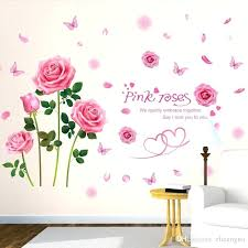 rose wall decal pink color rose wall sticker material creative flower wall decals for living room rose wall decal