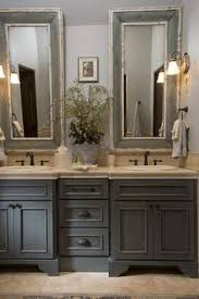 brown bathroom furniture. french country bathroom gray washed cabinets mirrors with painted frames chippy paint brown furniture