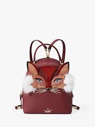kate spade new york So Foxy Fox Binx Leather Backpack, Sienna