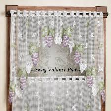 Kitchen Curtains With Grapes Vineyard Grape Lace Tier Window Treatment