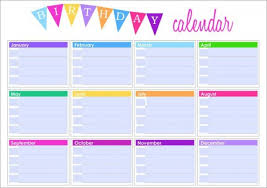 Sample Birthday Calendar