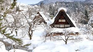 Wallpaper Shirakawa Go Japan Winter Snow Trees House