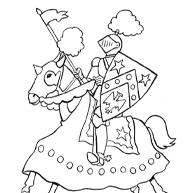 Kleurplaat Mooie Ridder Met Zijn Zwaard En Schild Op Een Paard