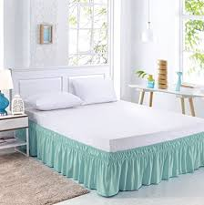 dust ruffles bed skirts. Perfect Skirts MEILA Three Fabric Sides Wrap Around Elastic Solid Bed Skirt Easy OnEasy  Off Dust Ruffled Skirts 16 Inch Tailored Drop Turquoise QueenKing To Ruffles R