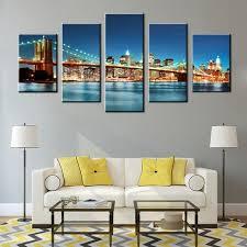 brooklyn bridge canvas wall art blue modern cityscape painting new york city night view scene artwork on canvas wall art new york city with brooklyn bridge canvas wall art blue modern cityscape painting new