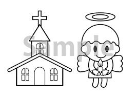 クリスマスキャンドルを持つ天使と教会の塗り絵素材 無料イラスト