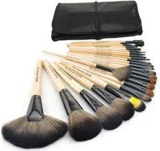 wisedeal 24 pieces professional cosmetic makeup brown brush set with black bag
