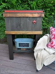 how to build a wood cooler tutorial by foxhollowcottage diy deck cooler makeover project