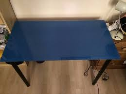 ikea glasholm adils table desk blue glass bought for 35gbp sold for