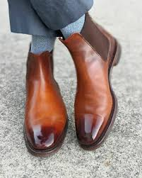 These timeless boots match effortlessly with any outfit, making them the perfect companion for winter walks with the family or a. Handmade Mens Brown Burnish Toe Leather Chelsea Boots Men Ankle Leather Boot Ebay