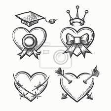 Fototapeta Ručně Tažené Srdce V Stylu Tetování Skicu Srdce S Korunou A
