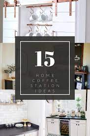 Use storage bins to further organize on the shelves so you can easily pull out a bin and have all the essentials for perking or steeping your favorite cup. 15 Home Coffee Station Ideas For Every Budget
