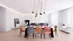 eclectic dining room designs. dining room ~ eclectic space with white interiors and complementary patterns upholstered chairs also modern light fixtures ideas fresh designs