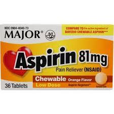 Aspirin Dosage Chart Child Childrens Chewable Aspirin 81 Mg Orange Flavored