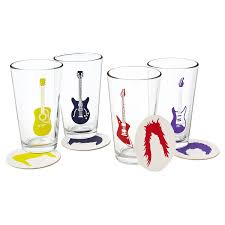 guitar glasses and coasters  rock glass music drink coasters