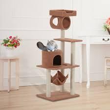 pawhut 55inch cat tree pet scratching post furniture coffee