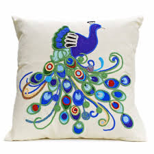 Peacock Design Pictures Linen Cushion With Ornate Peacock Design