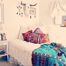 simple boho bedroom decor with native american indian pillow cover pattern and white shabby chic bedding