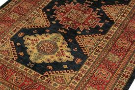 super kazak aaron blue red wool rug 4 3x5 9