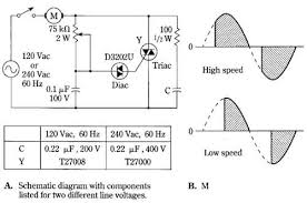 triac speed control circuit for induction motors 1 triac speed control circuit for induction motors by rca a schematic diagram components listed for two different line voltages b m