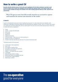 How To Write A Good Cv Co Operative Good Cv Writing V7