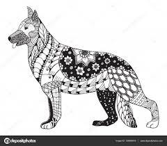 Duitse Herder Hond Hoofd Zentangle Gestileerd Vector Illustratie