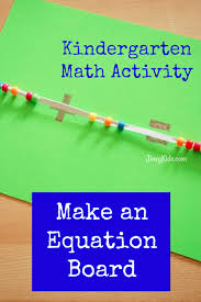 with this kindergarten math activity your child can make an equation board to be introduced