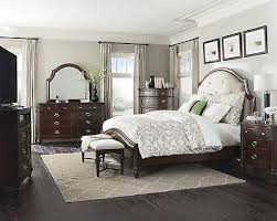 4 PC ART DECO STYLE CREAM TUFTED UPHOLSTERED KING BED BEDROOM FURNITURE SET