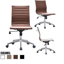 2xhome brown sleek swivel modern style adjule pu leather office chair mid back armless ribbed