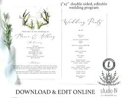 Image 0 Wedding Program Order Of Events Template Image 0