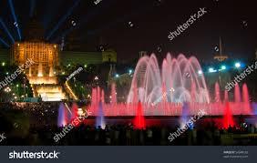 Light Show Fountain Barcelona Magic Fountain Montjuic Light Show Plaza Stock Photo Edit