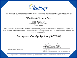 Quality And Certifications Sheffield Platers Inc Sheffield Platers