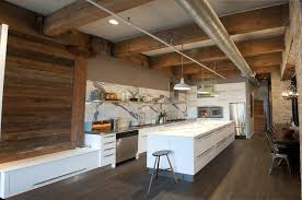 Exposed Beams And Rafters Kitchen Rustic With Open Kitchen Dome Pendant  Lights