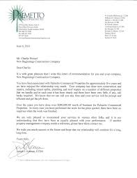 palmetto commercial properties recommedation and thank you letter