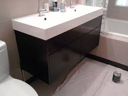 Charming Black Painted Floating Small Ikea Bathroom Vanity With Single Sink  As Decorate In Half Bathroom Furniture Designs